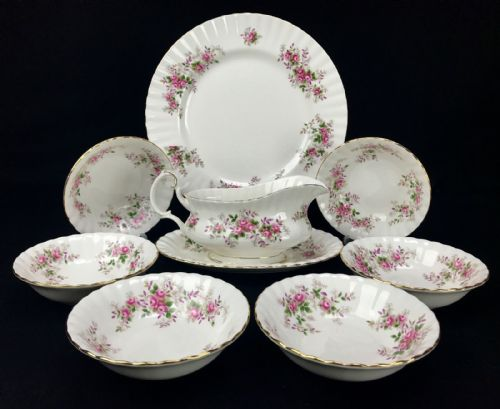 Royal Albert Lavender Rose Service / Bowl Set / Vintage 1960's China